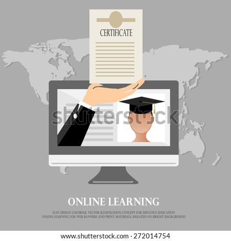 Flat design colorful vector illustration concept for distance education, online learning for web banners and print materials. Isolated on bright background - stock vector