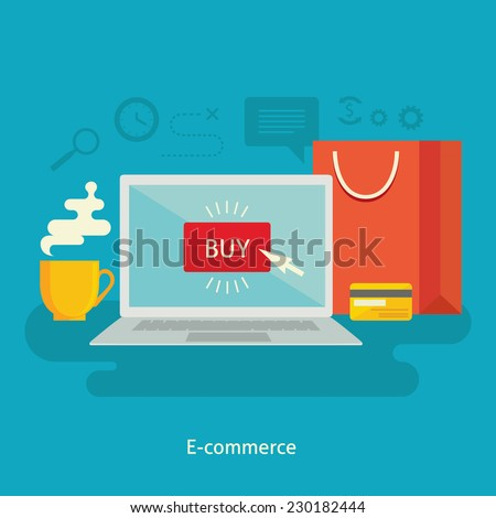 Flat design colorful vector illustration concept for e-commerce, online shopping, buying goods in internet store isolated on bright background - stock vector