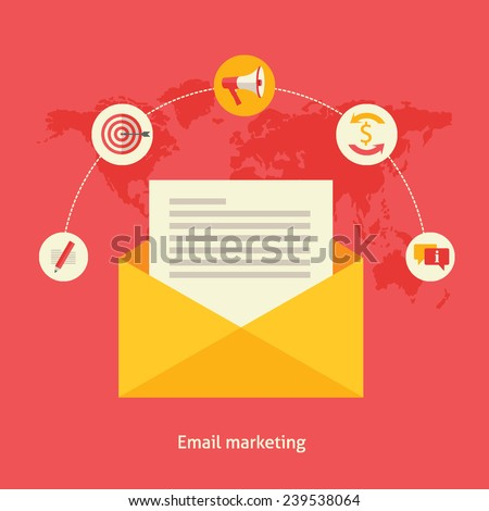 Flat design colorful vector illustration concept for email marketing, engaging with stakeholders sending commercial information isolated on bright background  - stock vector