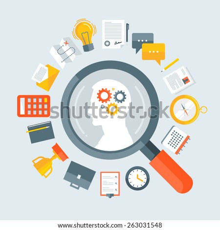 Flat design colorful vector illustration concept for human resource management, recruitment, headhunting, searching employees, selecting professional staff isolated on light background  - stock vector