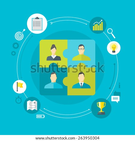 Flat design colorful vector illustration concept for human resource management, team work, organizing working process in a company isolated on bright background - stock vector