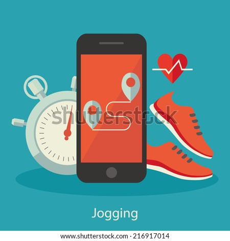 Flat design colorful vector illustration concept for jogging isolated on bright background - stock vector