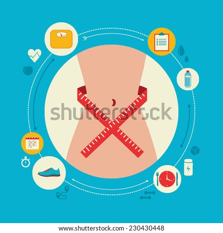 Flat design colorful vector illustration concept for keeping fit, weight loss, fitness, dieting, nutrition regime, healthy lifestyle isolated on bright background - stock vector