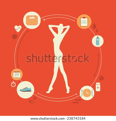 Flat design colorful vector illustration concept for keeping fit, weight loss, fitness, dieting, healthy lifestyle isolated on bright background  - stock vector