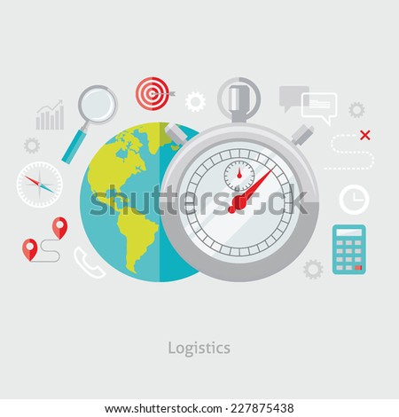 Flat design colorful vector illustration concept for logistics isolated on light background - stock vector