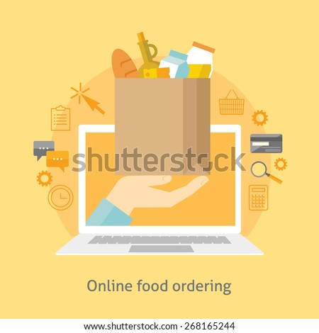 Flat design colorful vector illustration concept for online ordering of food, grocery delivery, e-commerce isolated on bright background  - stock vector