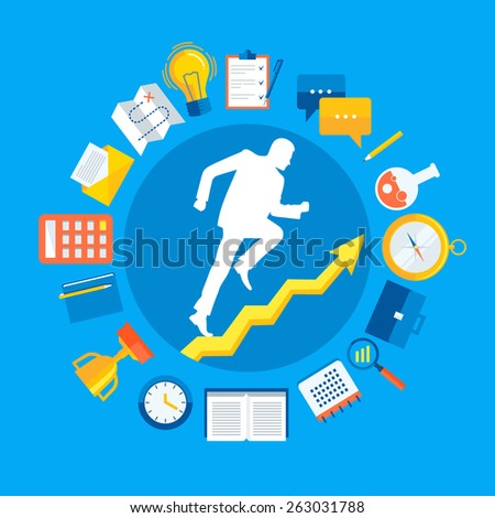 Flat design colorful vector illustration concept for personal development, professional growth, working process, successful career, reaching goals isolated on bright background  - stock vector