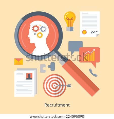Flat design colorful vector illustration concept for searching efficient staff, selecting employees, analyzing resume, recruitment, human resources management, work of hr isolated on light background  - stock vector