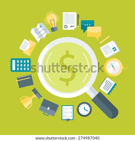 Flat design colorful vector illustration concept for searching money for business idea, financial strategy, business process isolated on bright background - stock vector