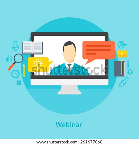 Flat design colorful vector illustration concept for webinar, online learning, professional lectures in internet. Isolated on bright background - stock vector