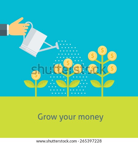 Flat design colorful vector illustration of a hand watering money plants, concept for making money, investment, getting profit, financial management isolated on light background  - stock vector