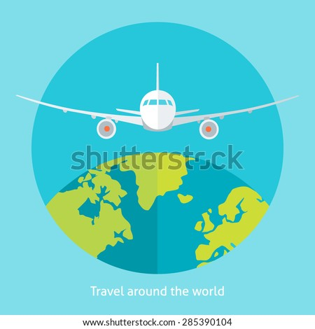 Flat design colorful vector illustration of flying plane above the earth, concept for traveling by plane, international flights. Isolated on bright background - stock vector