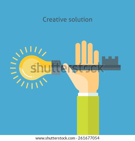 Flat design colorful vector illustration of hand holding key with light bulb, concept for creative solution. Isolated on bright background - stock vector