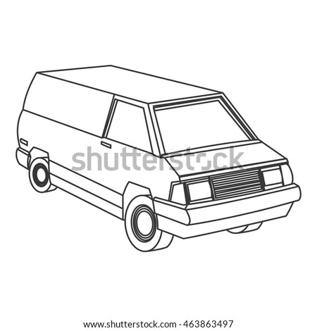 flat design commercial van icon vector illustration