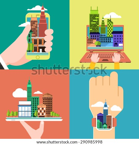 Flat design concept city on the device smartphone,laptop, tablet and smart watch. - stock vector