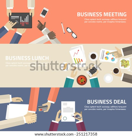 Flat design concept for business meeting, lunch, deal. Vector illustration for web banners and promotional materials - stock vector