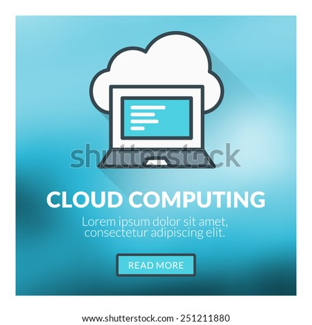 Flat design concept for cloud computing. Vector illustration with blurred background - stock vector