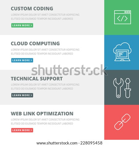 Flat design concept for coding, cloud computing, support, optimization web banners or headers vector illustration - stock vector