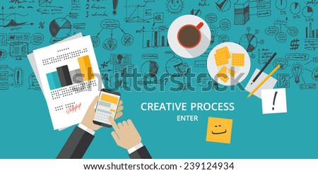 Flat design concept for creative process - stock vector