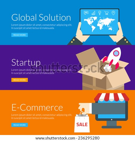 Flat design concept for global solution, startup and e-commerce. Vector illustration for web banners and promotional materials - stock vector