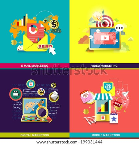 flat design concept for mobile marketing, email marketing, video marketing and digital marketing - stock vector