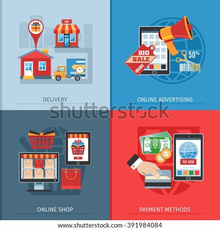 Flat Design Concept For On-line Shopping, Delivery, Payment Methods And Advertising. Vector Illustration - stock vector