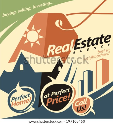 Flat design concept for real estate business. Web banner creative concept.  - stock vector