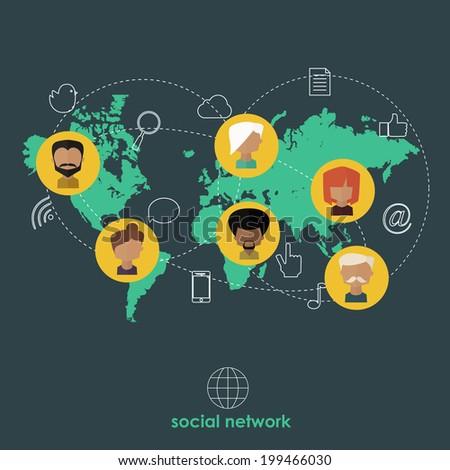 Flat design concept for social network. - stock vector