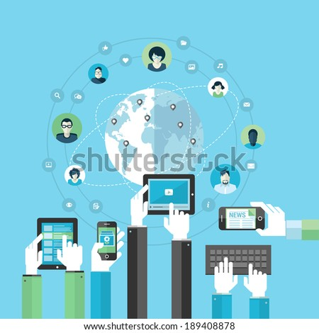Flat design concept for social network by using modern electronic devices. Concepts for web banners and printed materials. - stock vector
