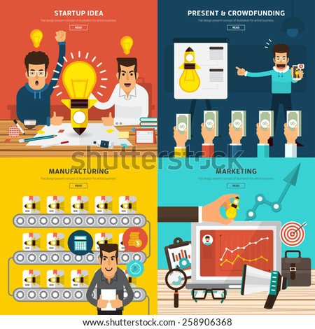 Flat design concept for startup new business process by idea, present, crowdfunding, manufacturing and marketing. Vector Illustration. - stock vector