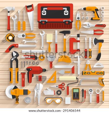 Flat design concept hand work tools box set.Vector illustrate. - stock vector