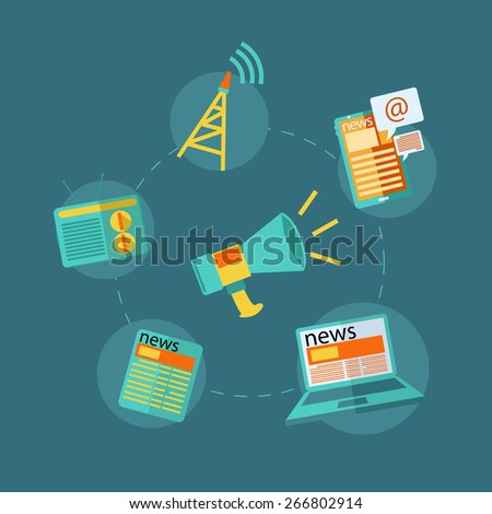 flat design concept icons for news web and mobile phone services and apps. Icons for fax, newsletter, support, contact. - stock vector