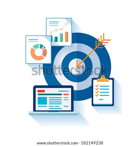 Flat design concept icons for web and mobile phone services and apps. Marketing online analytic and optimization concept symbols. Target, tasks, charts concept illustration on white background. - stock vector