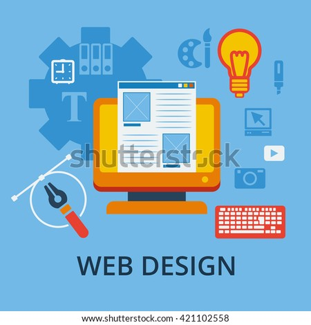 Flat design concept icons for web and mobile services and apps. Icons for responsive web design and graphic design. - stock vector