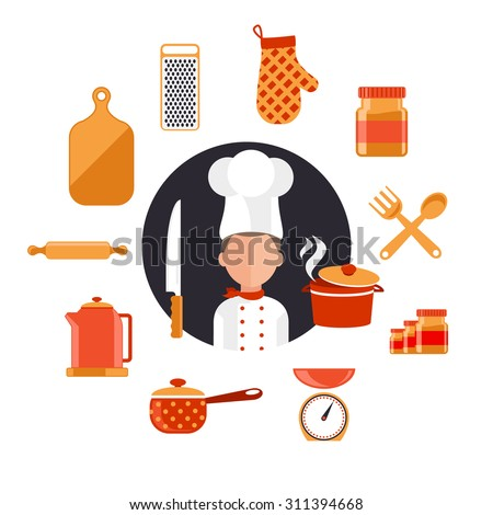 Flat design concept icons of kitchen utensils with a chef. Cooking tools and kitchenware equipment, serve meals and food preparation elements. Chef and tool character. Set of icons on white - stock vector