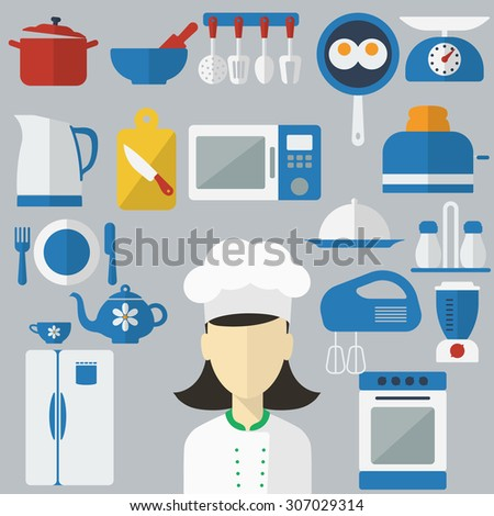 Flat design concept icons of kitchen utensils with a chef on banners. Cooking tools and kitchenware equipment, serve meals and food preparation elements. Chef and tool character