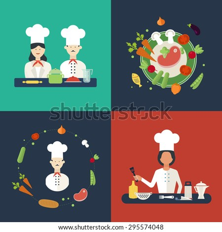 Flat design concept icons of kitchen utensils with a chefs. Cooking tools and kitchenware equipment, serve meals and food preparation elements. Icons for cooking and vegetarian food. - stock vector