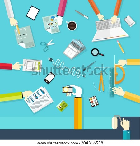 Flat design concept illustration design of teamwork consulting on briefing, team working and business presentation, planning, brainstorming of company financial strategy and final goals. - stock vector