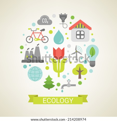 Flat design concept in stylish colors. Set of vector ecology symbols.  - stock vector