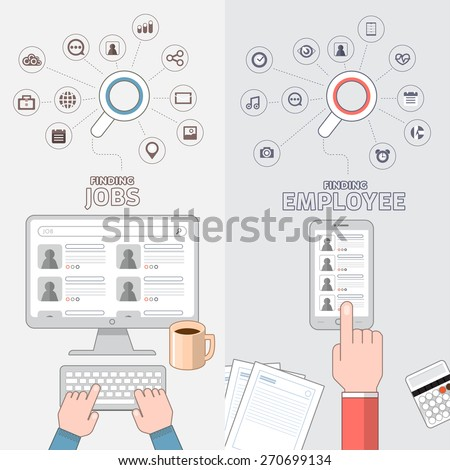 Flat design concept jobs search online by separate vision of applying and employee. - stock vector