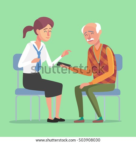 Flat design concept of bank management service for elder people. Cartoon illustration old woman and bank clerk. Finance,bank and insurance concept