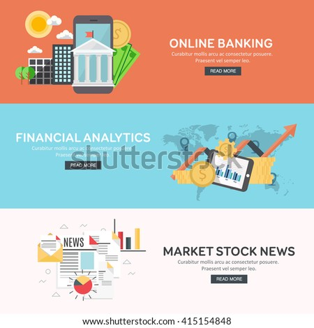 Flat design concept of business big data analysis, financial analytics, online banking, marketing stock news. Concepts for web banner and printed materials. Vector illustration. - stock vector