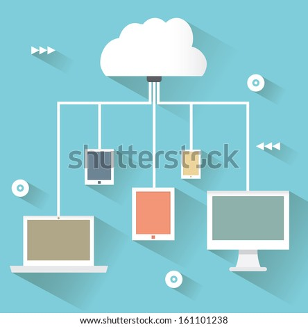 Flat design concept of cloud service and mobile devices with long shadows. Process of upload and download - vector illustration