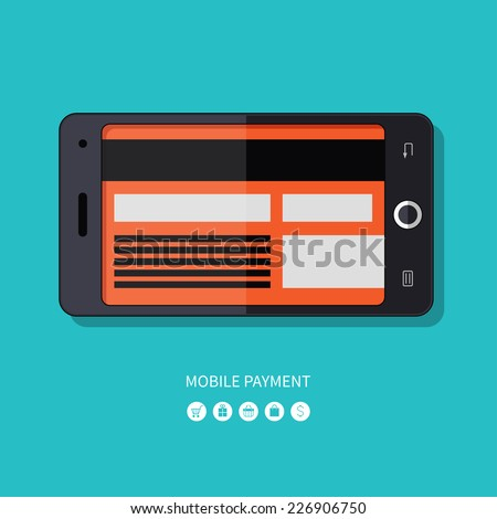 Flat design concept of mobile payment process. Modern touchscreen smartphone with a credit card instead of a display. Vector illustration - stock vector
