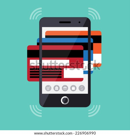 Flat design concept of mobile payments, online shopping and e commerce. Modern touchscreen smartphone with set of credit cards. Vector illustration - stock vector