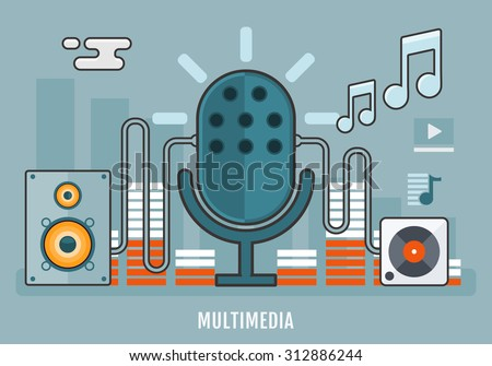 Flat design concept of music gadgets and multimedia devices. Concept of Sound and Music production, recording studio. Thin line flat design. Vector Illustration. - stock vector