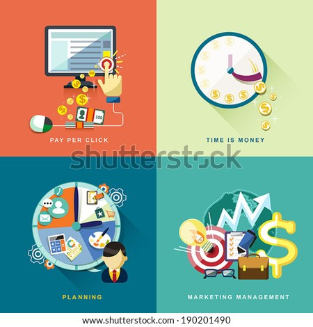 flat design concept of pay per click, planning, marketing management, time is money - stock vector