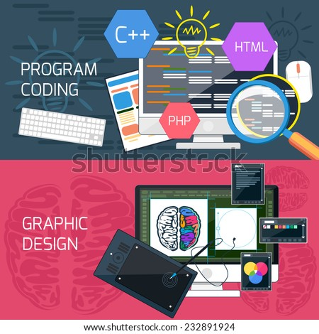 Flat design concept of program coding and graphic design - stock vector