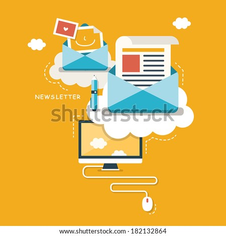 flat design concept of regularly distributed news publication via e-mail with some topics of interest to its subscribers - stock vector