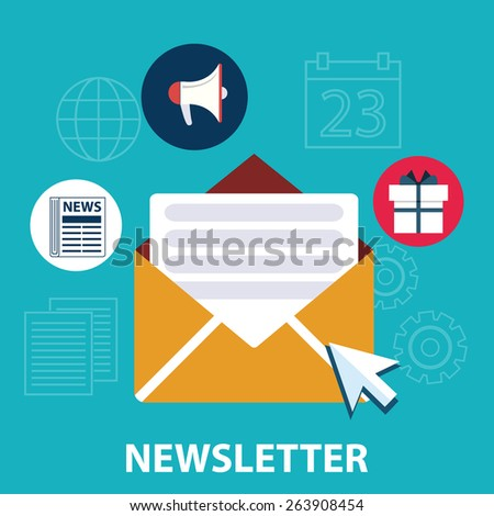 Flat design concept of regularly distributed news publication via e-mail with some topics of interest to its subscribers. - stock vector